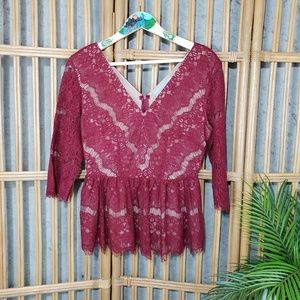 Anthropologie Maeve Needle Lace Peplum Top